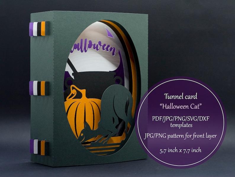 Halloween Pop Up Cards Templates.Tunnel Card 3d Pop Up Card Papercut Template Halloween Pumpkin Cat Diy Card Jpg Png Pdf Svg Dxf Laser Cut Set Instant Download