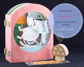 Tunnel card, 3D pop-up card, papercut template, polar bear, book, reader, jpg, png, pdf, svg, dxf, laser cut set, instant download