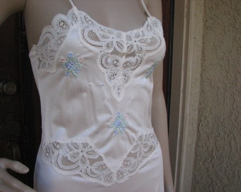 Vintage Full Length Nightgown, by Fleur de Paris of New Orleans, Size Medium, Bridal Lingerie, Peek-A-Boo Lace