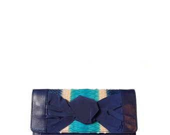 Kiss BLUE Blue shades and python nappa knot clutch