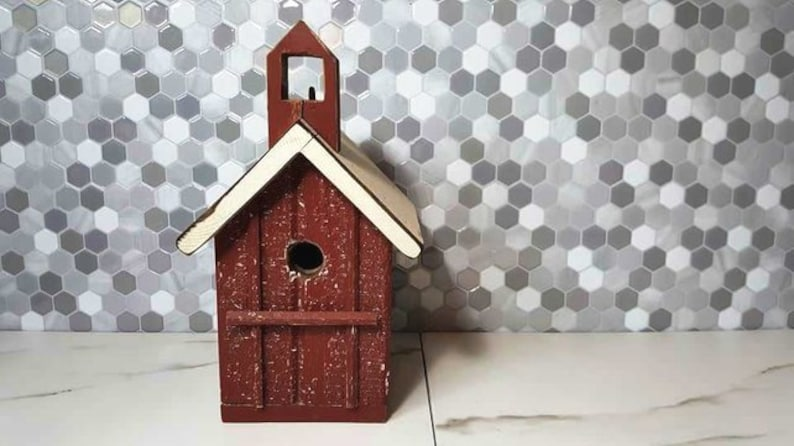Vintage 1990s Barnwood Birdhouse Home Decor Kitchen Decor Rustic Home Decor  Wall Decor Red Farmhouse Decor Home Country Reclaimed Wood