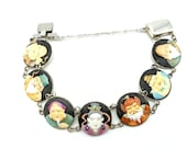 Signed Toshikane Hand-Painted Porcelain 7 Gods Bracelet in Sterling Silver, 7 panels - 7.25 quot