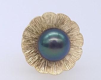 3f094da899ec Vintage 14K Gold & Black Tahitian Pearl Floral Tie Tack or Lapel Pin