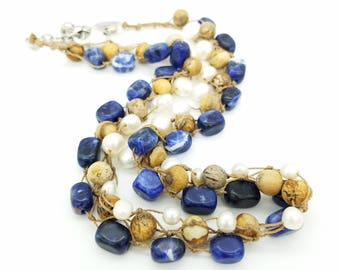 """Vintage Coldwater Creek Sodalite & Freshwater Pearl Beaded Necklace - 19-21"""" Adjustable"""