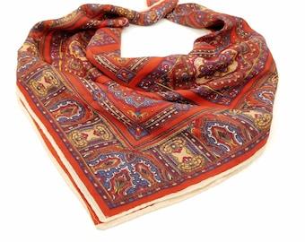 "Vintage 1970's Red, Blue & Gold Patterned Scarf - 22"" Square"