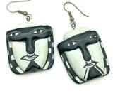 Vintage Black White Hand-Painted Mask Dangle Earrings