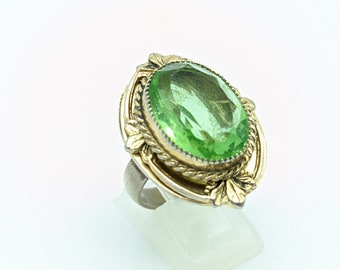 Jewels House Green Dichroic Glass Marquise Gemstone Silver Plated Handmade Green Stone Statement Ring US-9