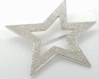 Vintage Signed Badavici Sterling Silver Star Brooch
