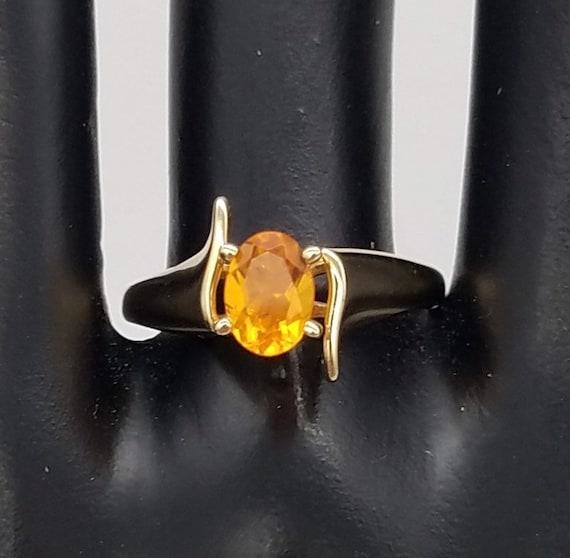 Vintage Mexican Orange Opal & 14K Yellow Gold Soli