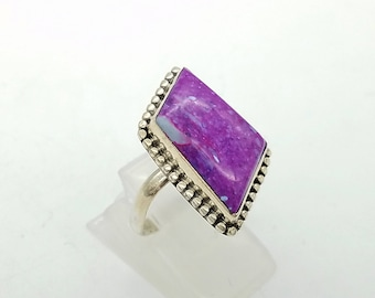 Purple Agate & Sterling Silver Vintage Ring - Size 7.5