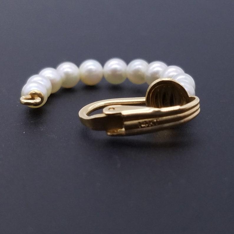 14K Yellow Gold /& Cultured Pearl Half Hoop Clip Estate Earrings 4g 1