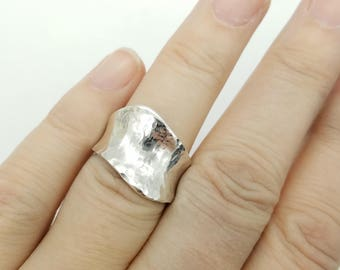 Wide Hammered Sterling Silver Ring- Size 7