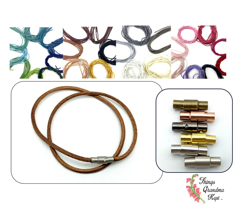 Made to Order 2mm Genuine Leather Cord Necklace With Magnetic image 0