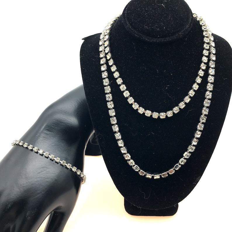 Two Necklaces /& One Bracelet Set of 3 Vintage 1960/'s Rhinestone Pieces
