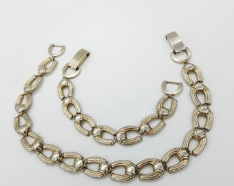 Vintage Signed Jaycraft 1940's Silver Tone Horseshoe Shaped Link Choker Necklace & Matching Bracelet
