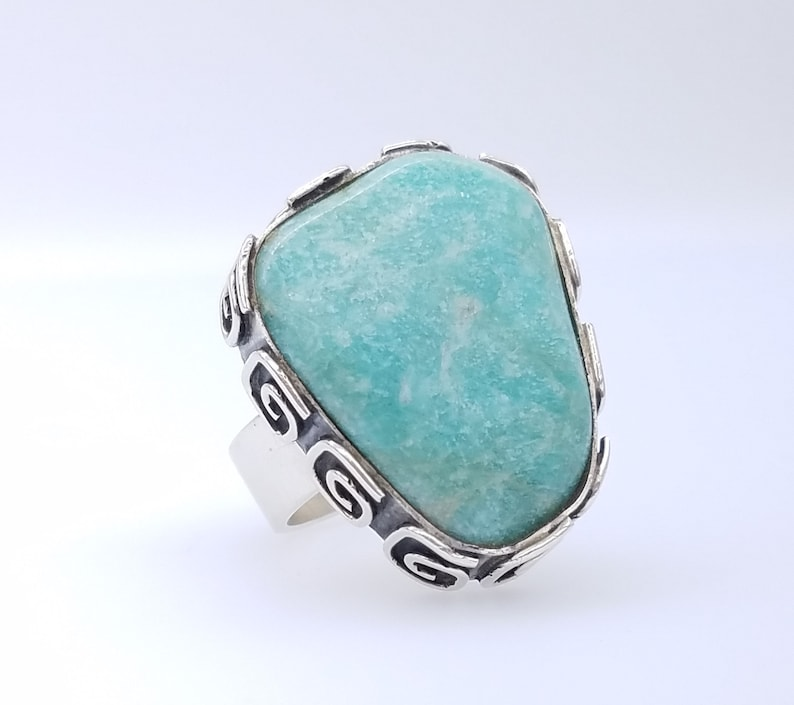 Size 8 Heavy Vintage Blue-Green Amazonite /& Sterling Silver Vintage Statement Ring Unisex