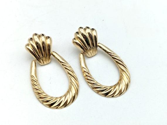 Vintage 14K Gold Doorknocker Dangle Earrings - 1.2