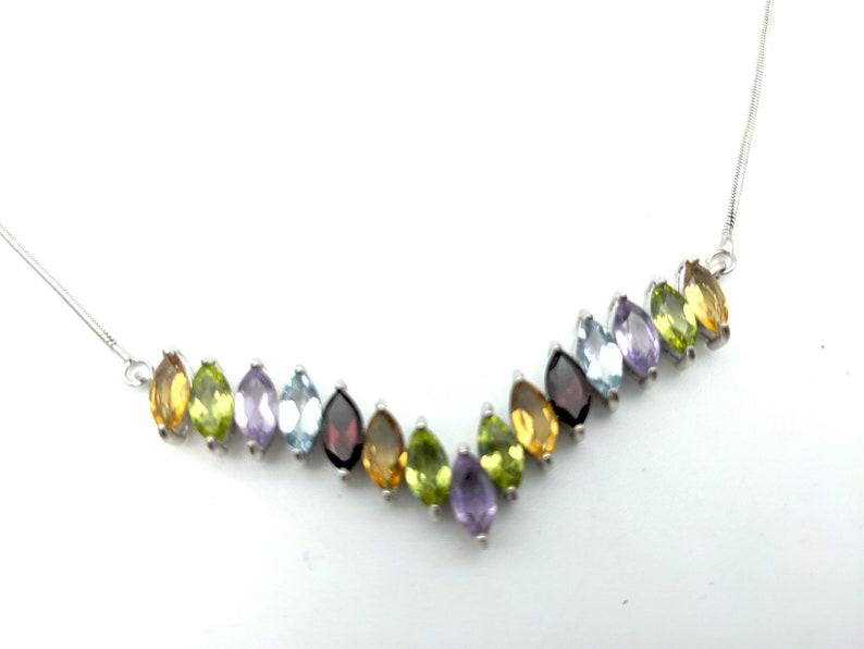 Vintage Sapphire Garnet 18 Amethyst Topaz Peridot /& Citrine Sterling Silver Pendant Necklace