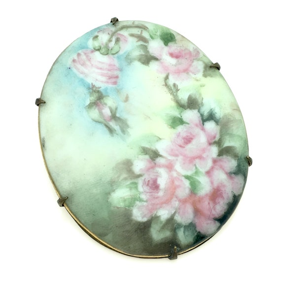 Antique Limoges Style Hand Painted Porcelain Flora