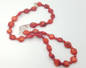 Vintage Beaded Red Coral & Sterling Silver Heart Necklace