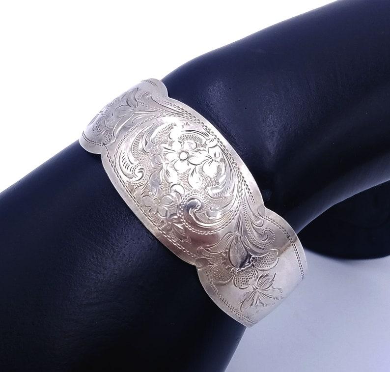 1800s Antique Etched 830 Silver Etched Floral Cuff Bracelet image 0