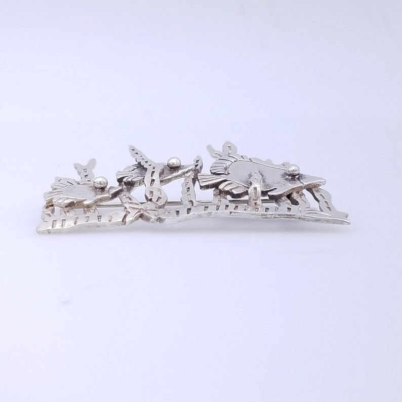 Taxco Mexico Sterling Silver Tropical Fish Coral Reef Brooch