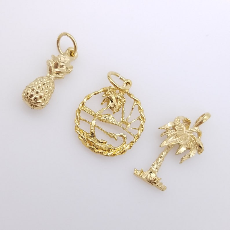 Old Stock Gold Plated Palm Tree or Pineapple Charm or Pendant image 0