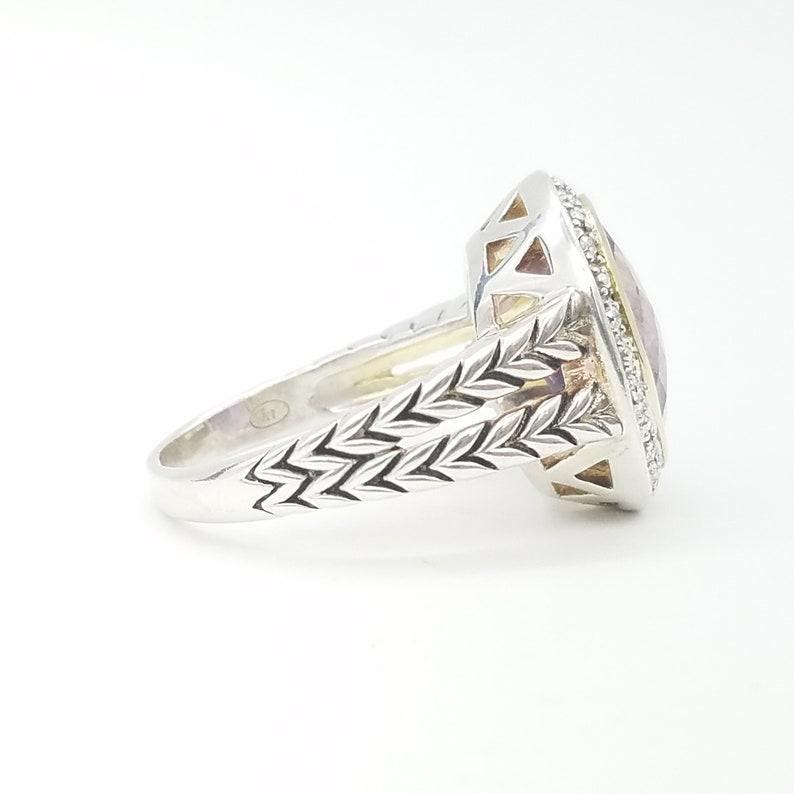 Vintage 14K Gold Size 8.5 4.5 Carat Amethyst /& Diamond Vintage Statement Ring Sterling Silver