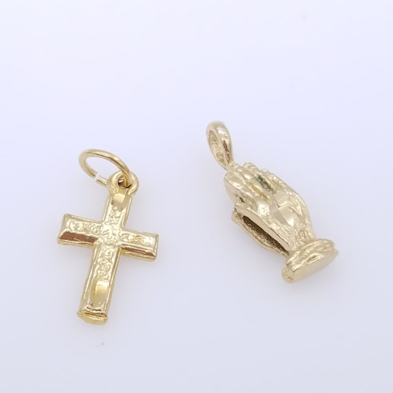 Old Stock Gold Plated Praying Hands or Cross Charm/Pendant image 0