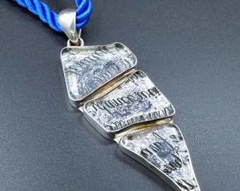 Stunning Charles Albert Sterling Silver & Etched Glass Pendant