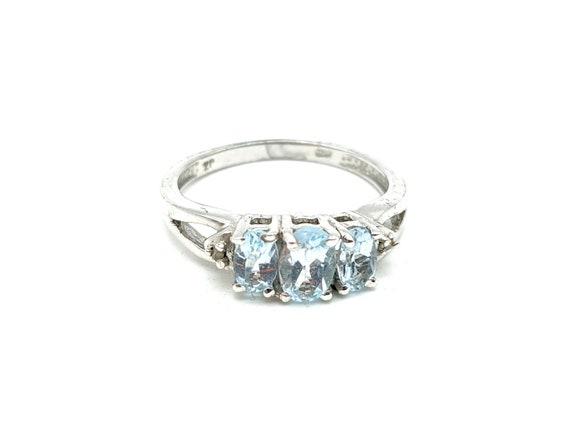 Vintage Sterling Silver White Topaz Three stone Ring Size 7
