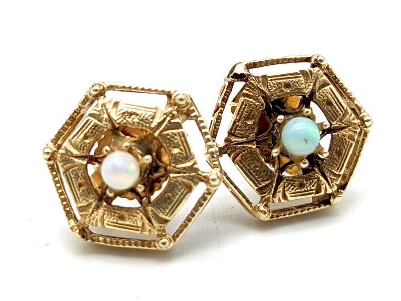 Antique Art Deco 14K Gold /& Opal Stud Earrings