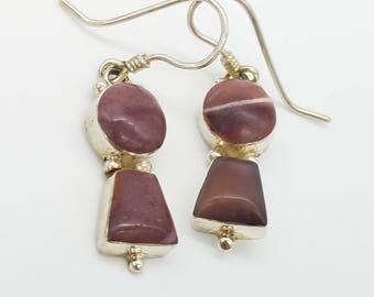 Vintage Lavender Agate & Sterling Silver Dangle Earrings