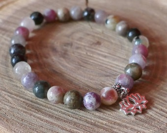 Tailored semi precious bead bracelet, fine multicolore tourmaline, tree of life charm or other, zen, yoga syle, elastic