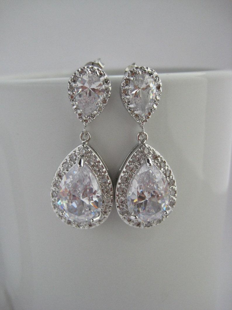 da5f3535bf06 Pendientes Circonita nupcial boda aretes de rodio de plata de cristal  joyería boda lágrima