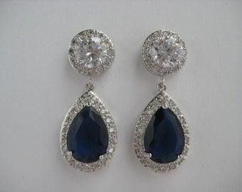 Blue Sapphire Crystal Earrings Bridal Sapphire Cubic Zirconia Jewelry Wedding Teardrop Rhodium Halo Earrings Sapphire Bridal Earrings