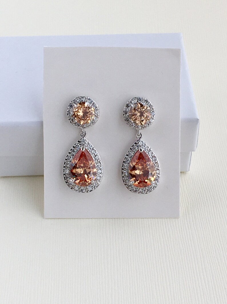 Bridal Wedding  Gold Cubic Zirconia Pear Cut Drop Earrings Bridesmaid Jewelry