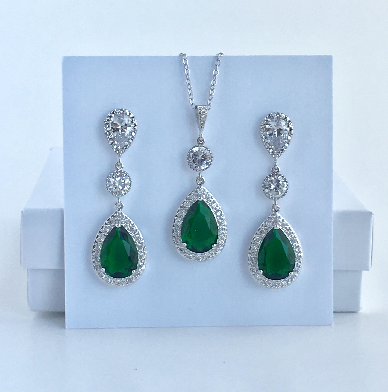 Green Crystal Bridal Jewelry Set Emerald Bridal Cubic Zirconia  c6732263a6aa