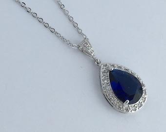Blue Sapphire Cubic Zirconia Teardrop Bridal Necklace Wedding Crystal Teardrop Pendant Rhodium Crystal Wedding Jewelry