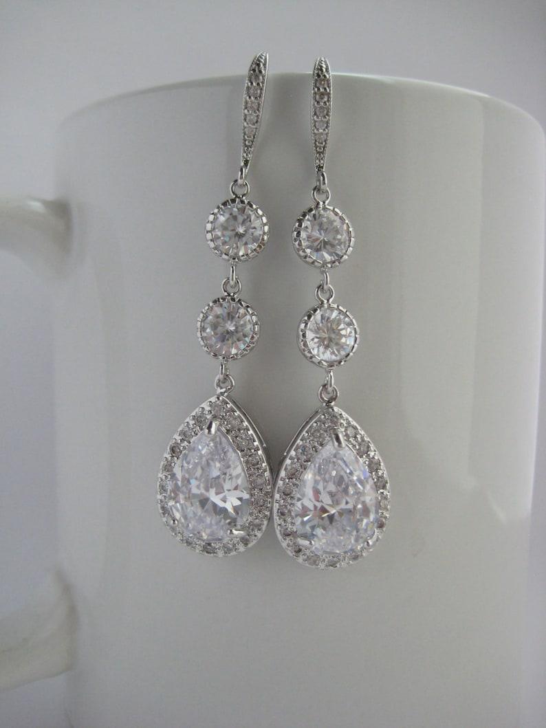 3edc4e19cdb0 Pendientes de boda cristal largo largo novia cúbicos Circonia joyería de  plata boda lágrima rodio largo pendientes