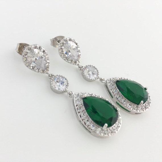 e08504cdfdede Green Crystal Earrings Emerald Bridal Earrings Cubic Zirconia Drop Earrings  Green Wedding Teardrop Rhodium Earrings Green Bridesmaid Jewelry
