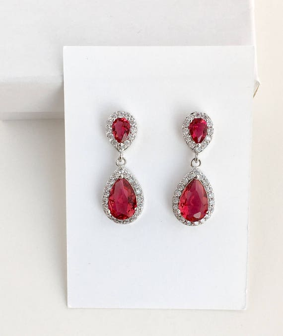 earrings crystal prom Purple Crystal Bridal Earrings homecoming earrings maid of honor Ruby Crystal Drop Earrings wedding
