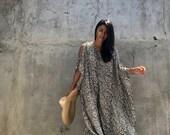 SPX02 Leopard print Open shoulder Black Kaftan Beach dress , Swim cover up, Summer dress,Loose fit dress ,Boho dress,Maxi dress