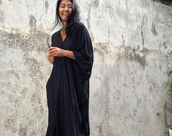 KT50/Black dyed ,Long Kaftan simple Dress, stylish, Elegant, Miami,lbiza,Holiday Dress,Evening dress,loose fit,Christmas