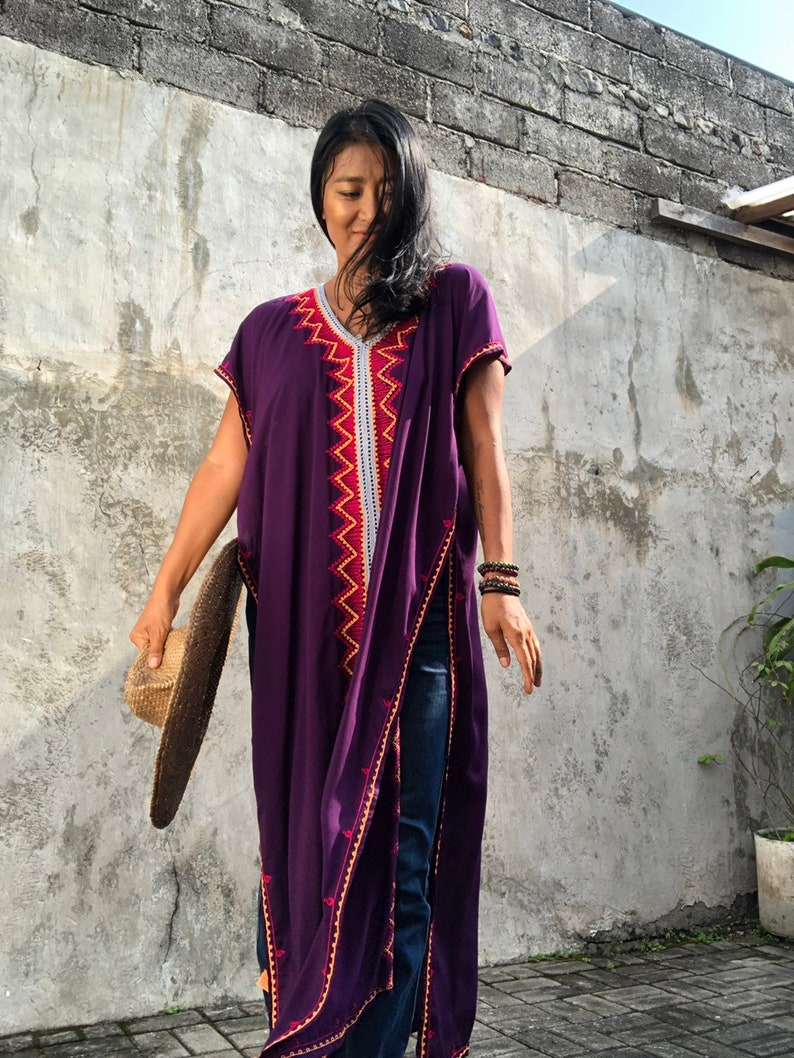 TE04Long poncho,long Dress,Summer,Gypsy stylish resort wear Tassel,Women/'s,Caftan Holiday,Beach cover up Festival