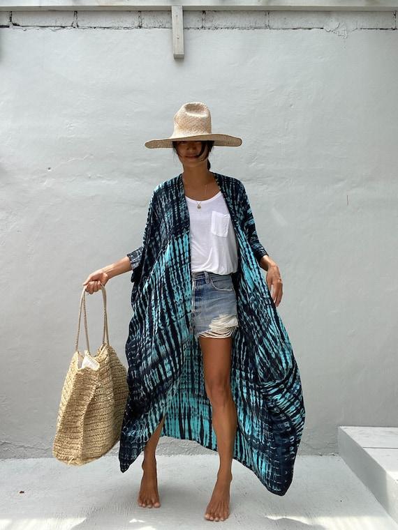 beach cover up Summer Cardigan OKN27Hand Tie dyed Kimono Jacket Holiday,Boho,Loose Fit,jacket