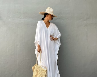 KT75/Long Kaftan simple Dress, stylish, Elegant, Miami,lbiza,Holiday Dress,Evening dress,loose fit,White party