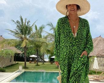 JIML05/Leopard print Long Shirt dress,Maxi dress,,Loose top, Summer women dress,Stylish