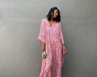 KT81/135cm,Leopard print Long Kaftan, simple Dress, stylish, Elegant, Miami,lbiza,Holiday Dress,Evening dress,loose fit