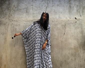 BP01/ Navy Banana leaf print dress, Kaftan Dress, Caftan, Beach dress , Summer dress, Boho dress